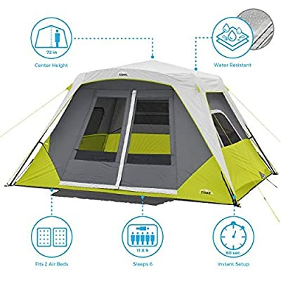 CORE 6 Person Instant Cabin Tent with Awning