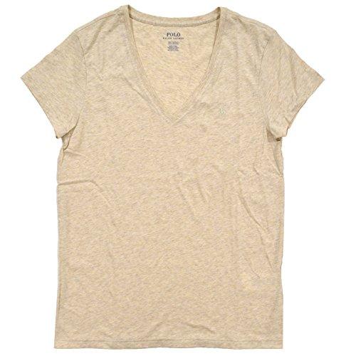 Polo Ralph Lauren Womens Short Sleeve Jersey V Neck T-Shirt (Medium, Khaki)
