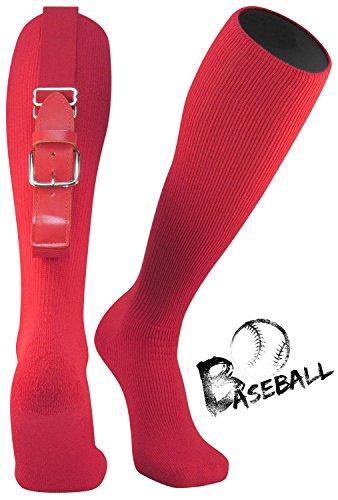 TZOE Baseball Softball Belt Socks Combo Set Softball Socks Baseball Belt Combo Set Youth and Adult (Red, Adut) - Red Combo Belt