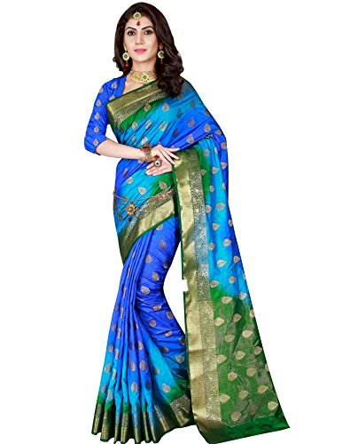 Blue & Green Color Banarasi Silk Saree With Unstitched Blouse Piece,Blue & Green,Free Size (Kanchipuram Sarees)