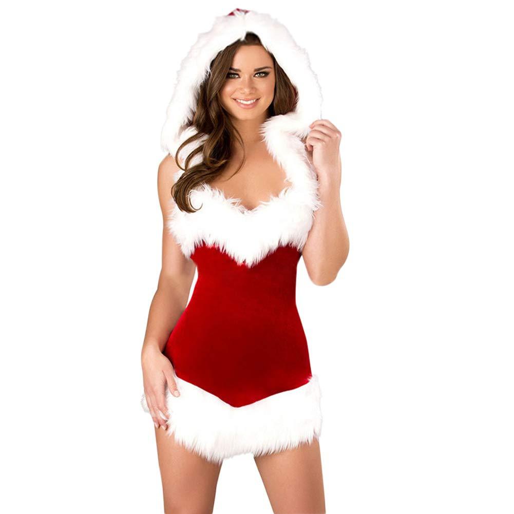 Uniforme de Navidad para mujer, disfraz de Papá Noel con capucha, sexy vestido de terciopelo rojo elástico de escena uniforme, vestido de Navidad 均码 ...