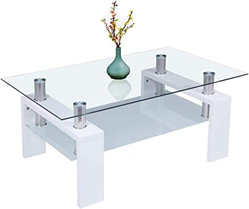 Rectangle Glass Coffee Table,Modern Side Coffee Table