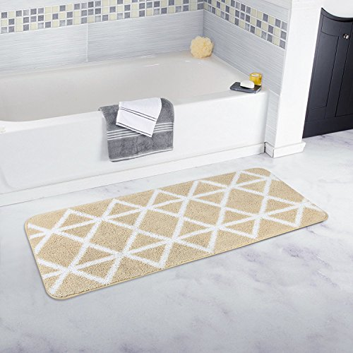 Homcomoda Microfiber Bathroom Shower Rug Geometric Bath Mats Washable Kitchen Floor Mats (17.72 by 47.24 Inch, A-Beige) (Target Bath Runner)