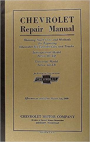 1929-1930 chevrolet repair shop manual reprint car & truck paperback –  unabridged, 1930