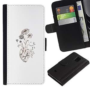 Paccase / Billetera de Cuero Caso del tirón Titular de la tarjeta Carcasa Funda para - Anatomy Good Art Drawing - Samsung Galaxy S5 Mini, SM-G800, NOT S5 REGULAR!