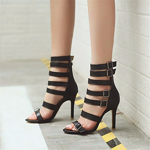 black y altos alto talones zapatos Tamaño tacón sandalias de redondo grande verano de tacones SwqOza