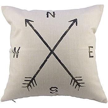 Leaveland Magic Arrow Compass North South West East 18x18 Inch Cotton Linen Square Throw Pillow Case Decorative Durable Cushion Slipcover Home Decor Standard Size Accent Pillowcase