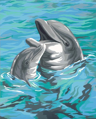 fts Paintworks Paint By Number, Dolphin Duo (Kids Playful Dolphins)