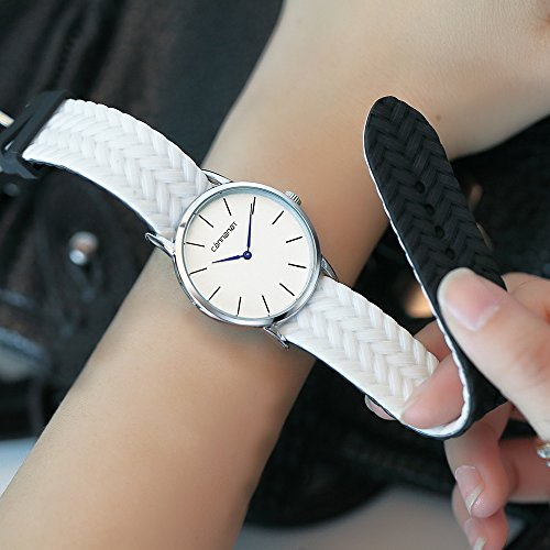 Top Plaza Unisex Casual Simple Silicone Strap Analog Quartz Watch Unique Reversible Doulbe Color Band Japanese Quartz Movement Waterproof Watch(Black and White) by Top Plaza (Image #2)