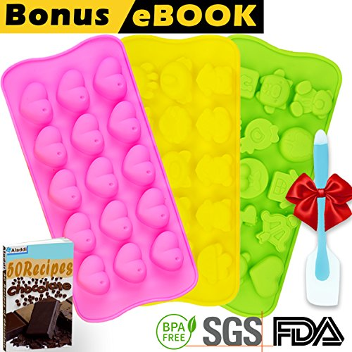 Silicone Chocolate Candy Molds | Jelly Gummy Pudding Ice Cake Soap Ganache Baking Mold | Bonus eBOOK + 50 Small Bags + Spatula | Non stick BPA free Professional Decorating | Set of 3 Many Cute Shapes (Shape Molds)