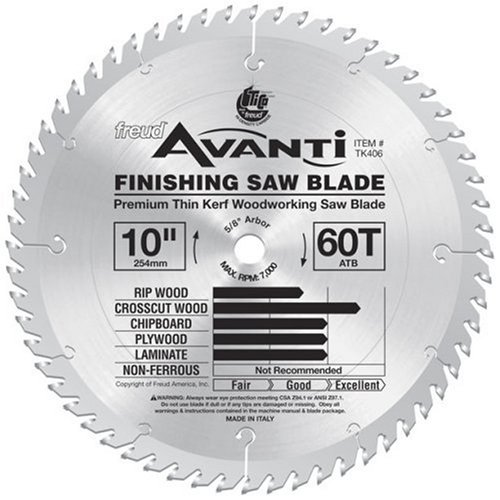 Freud TK406 Avanti 10-Inch 60-Tooth ATB Thin Kerf Crosscutting and Laminate Saw Blade with 5/8-Inch Arbor