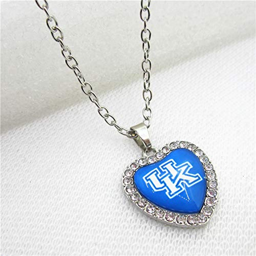 Gimax 10pcs US Sports Crystal Hearts University of Kentucky Wildcats Necklace Pendants Charms with 50cm Chains Sport Jewelry - (Metal Color: Silver Plated, Length: 50cm)