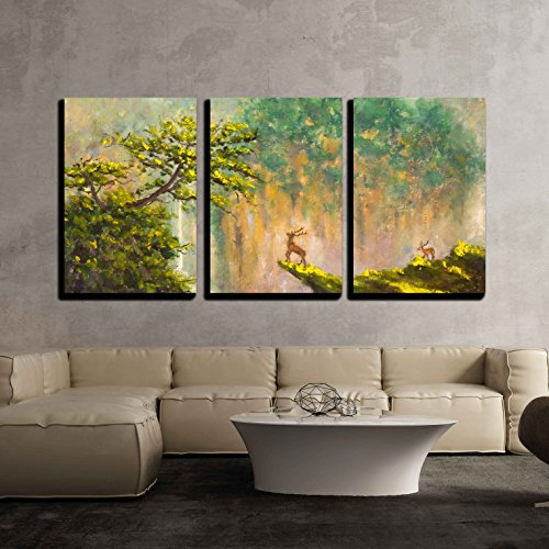 Painting of Deer on The Edge of a Cliff in a Mountain Forest x3 Panels