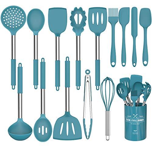 Umiten Chef Kitchen Utensils Set, 15 pcs Silicone Cooking Kitchen Utensils Set (Navy blue)