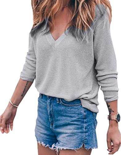 Buy grey v neck sweater with dress shirt - 2