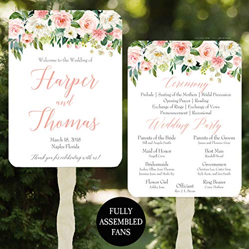 (Wedding Program Fans - Pink Blush Floral Collection - 100 Count Assembled)