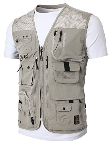 H2H Mens Casual Waterproof Multi-Pocket Outdoor Active Cargo Camping Vest