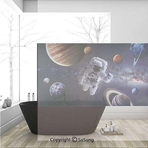 - 3D Decorative Privacy Window Films,Astronaut Between Planets Mars Neptune Jupiter Plasma Ethereal Sphere Picture,No-Glue Self Static Cling Glass film for Home Bedroom Bathroom Kitchen Office 36x24 Inc