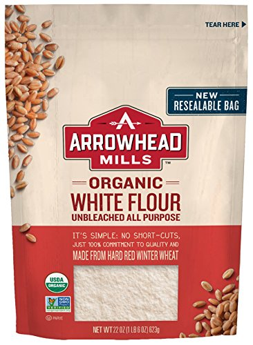 Arrowhead Mills Organic White Flour, Unbleached All-Purpose, 22 oz. Bag (Pack of 6)