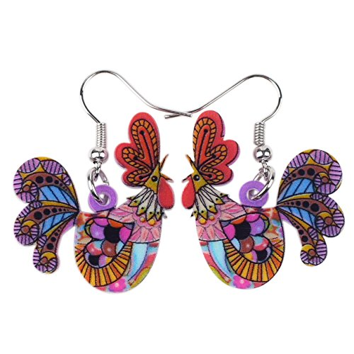 Acrylic Drop Cock Rooster Chicken Earrings Funny Design Lovely Gift For Girl Women Unique Design