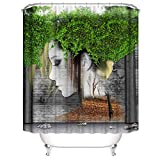 Clearance Sale!DEESEE(TM)New Waterproof Shower Curtain with 12 Hooks 3D Printed Bathroom Polyester (E)