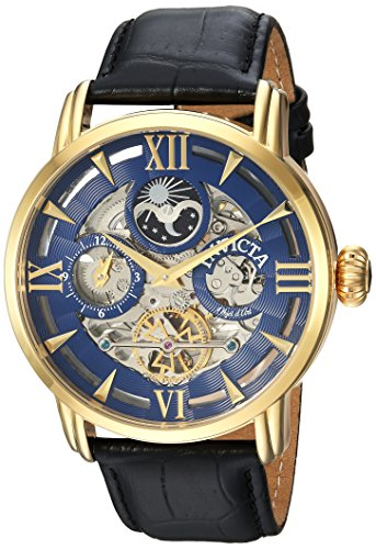 Invicta Men's Objet d'Art Stainless Steel Automatic-self-Wind Watch with Leather-Calfskin Strap, Black, 24 (Model: ()
