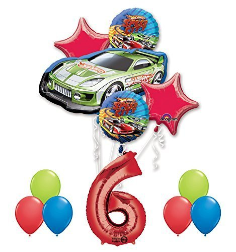 Hot Wheels Birthday Party (Hot Wheels 6th Birthday Party Supplies and Balloon Decorations)