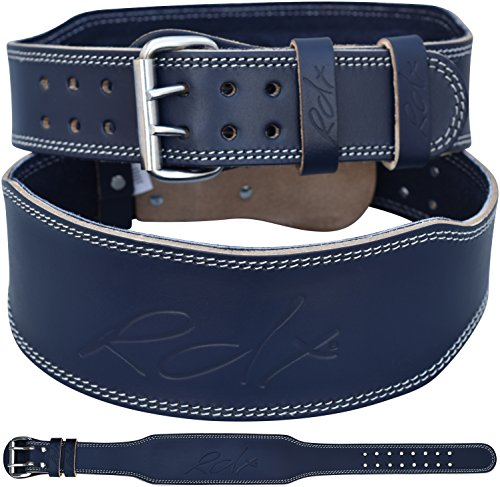 Blue Training Belt - RDX Weight Lifting Gym Belt Cow Hide Leather 4