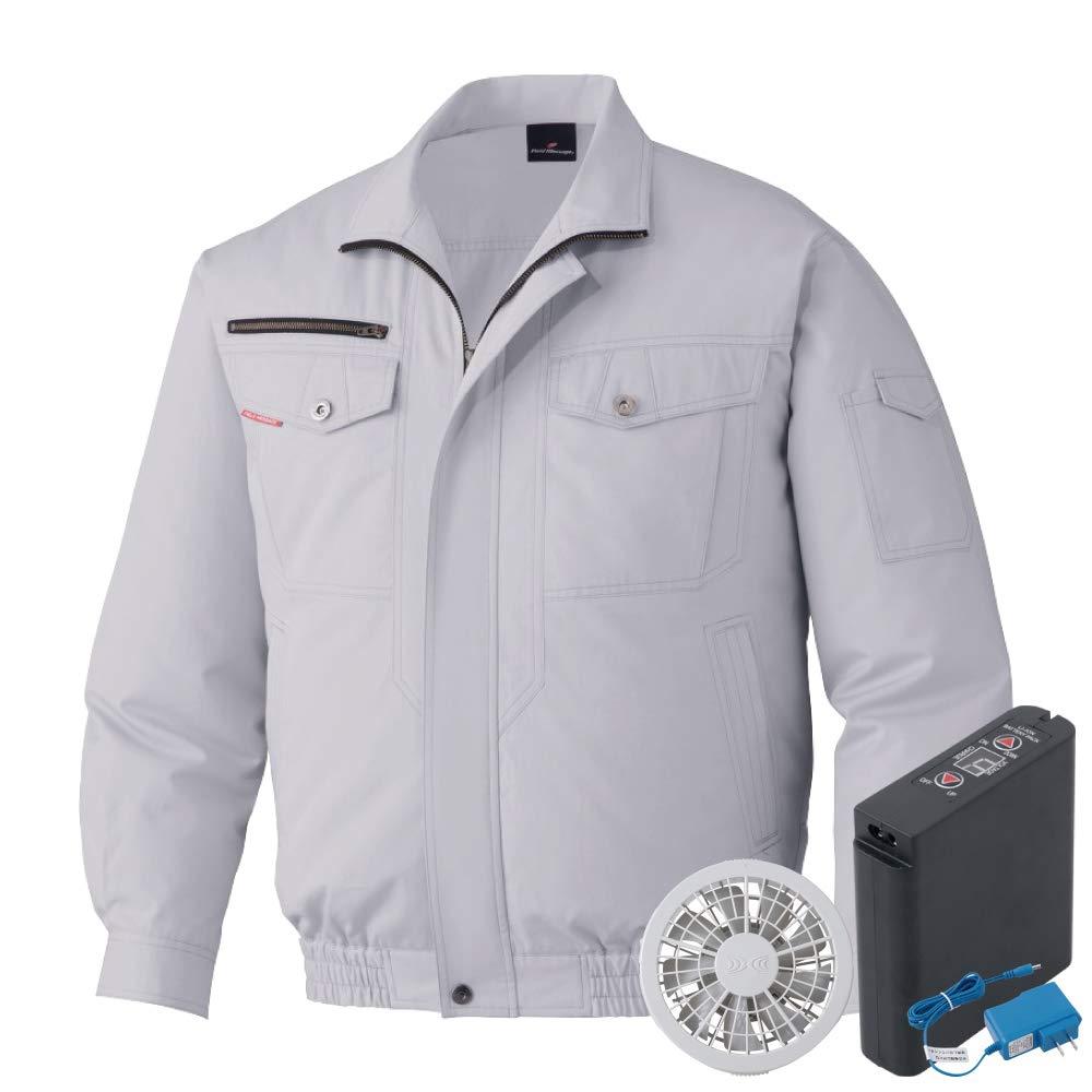 空調服 セット (フルセット) Jichodo 自重堂 長袖 ブルゾン 防縮防シワ 綿100% 87050 シルバーグレー/グレーファン B07RLS74ZC