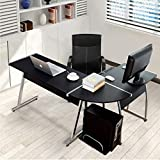 Tangkula L Shaped Desk Corner Desk, Home Office Desk, PC Workstation with Keyboard Tray & CPU Stand, Wood & Steel Frame Writing Table Modern L-Shaped Computer Desk, Black
