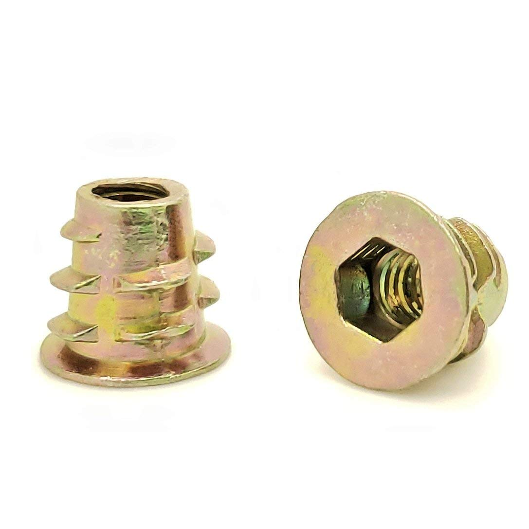 30 Qty #10-24 Zinc Hex Flanged Threaded Inserts for Wood SNG880 .394 Length