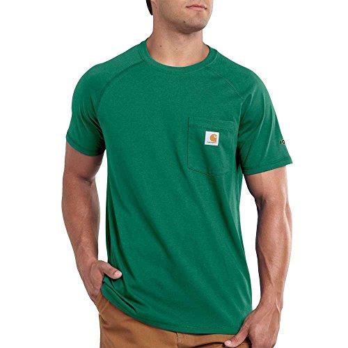 Carhartt Men's Force Cotton Delmont Short Sleeve T-Shirt, Botanical Green, Medium -