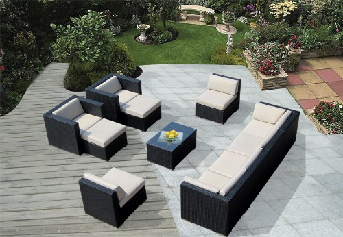 Ohana 11 Piece Outdoor Wicker Patio Furniture Sectional Conversation Set With Weather Resistant