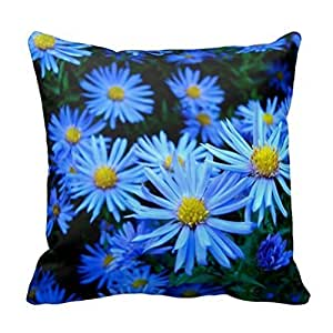 "Cotton Square Decorative Throw Pillow Case Cushion Cover Blaue Blume Pillow 18 ""X18 """