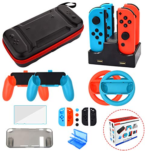 (Accessories Kit for Nintendo Switch Games Starter Wheel Grip Caps Carrying Case Screen Protector Controller Charger (17 In 1))