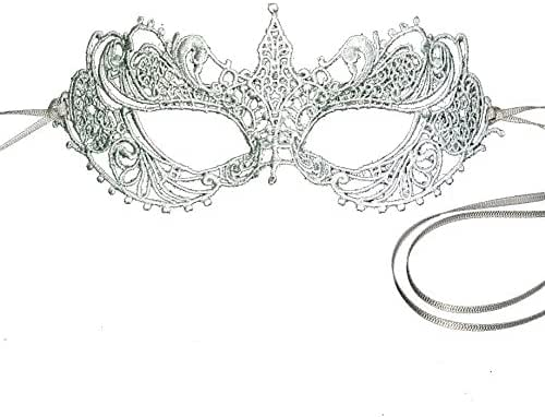Stunning Silver Gray Grey All Lace Goddess Ana Masquerade Mask