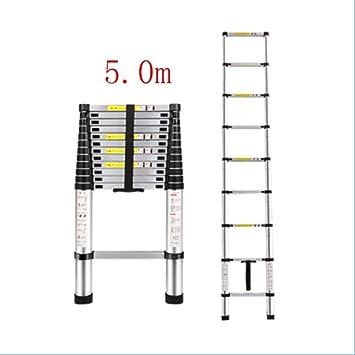 WLG Escalera Escalera, Escalera Telescópica 2.6M, Expansión Telescópica de Aluminio Escalera Doméstica Plegable Multifunción, Escalera de Ingeniería Portátil, Capacidad de Carga 330 Lb / 150 Kg,5.0m: Amazon.es: Bricolaje y herramientas