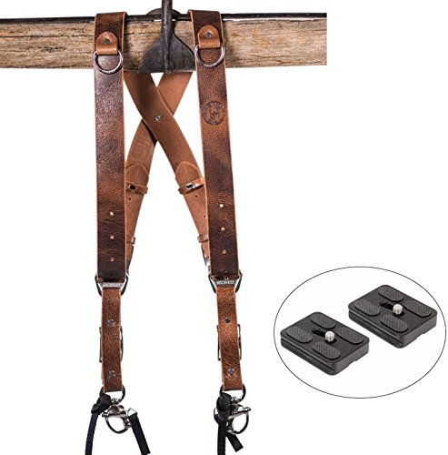 HoldFast Gear Money Maker Multi-Camera Harness Water Buffalo Leather Tan (Small) and Two Ivation Replacement Plates for the Mefoto Roadtrip, Backpacker Tripod Systems by HoldFast