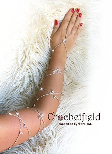 (Crochet SPARKLING Pair of Lace Up Bracelet or Anklet, gladiator, long, beach, pool, wedding, body chain, arm chain, leg chain, night out party)