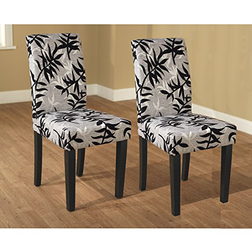 Metro Shop Parson Black and Silver Rubber Wood Dining Chairs (Set of 2)-Parson Chair