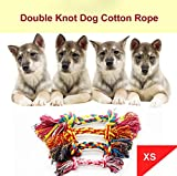 Glumes Dog Rope Toy, Multicolor Woven Cotton Puppy Chew Toy, Interactive Jolly Double Knot Bone Rope for Dogs &Cats, Great for Pets' Play &Fun|PERFECT GIFT FOR ALL YOUR DOG LOVING FRIENDS|Random Color (XS)