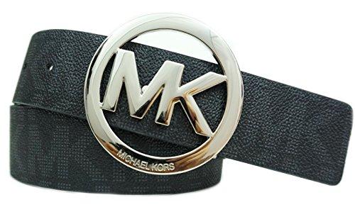 Michael Kors Belt Circle Plaque Logo Buckle Black/Silver (Medium) (Logo Plaque Buckle Belt)