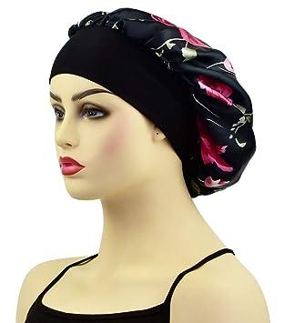 US Medium Long Hair Care Satin Bonnet Cap Night Sleep Hat Head Wrap Cover