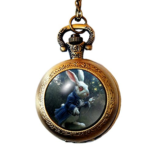 Joyplancraft Alice in Wonderland Inspired Pocket Watch Necklace Mr. White Rabbit Mysterious Garden Dome Necklace (Style 6) ()
