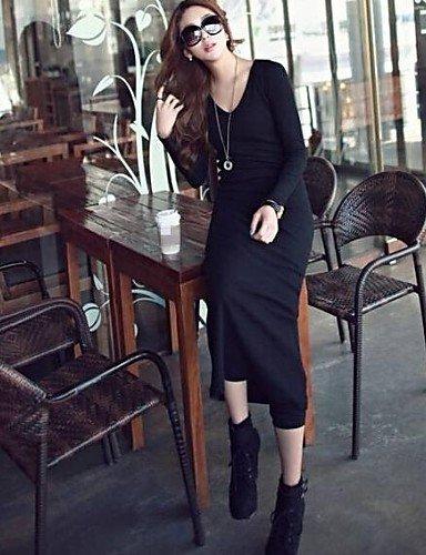PU&PU Robe Aux femmes Moulante Décontracté , Couleur Pleine Col en V Maxi Coton , dark gray-l , dark gray-l