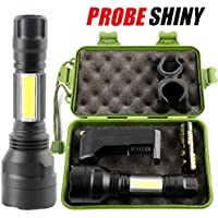 3500 Lumens DBHAWK Outdoor Portable Zoomable Flashlight XM-L T6 + COB LED Torch Lamp Penlight Sets(18650)