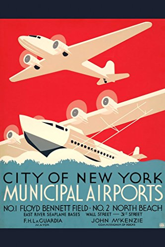 ArtParisienne City of New York Municipal Airports Wall Decal, 32'' L x 48'' W by ArtParisienne