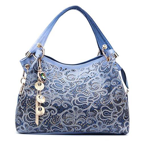 090281323c83d1 Handtaschen Damen, JOSEKO Leder Umhängetasche Damen Mode Tasche  Schultertasche Henkeltasche Schulterbeutel Shopper Taschen für Frauen Blau:  Amazon.de: ...