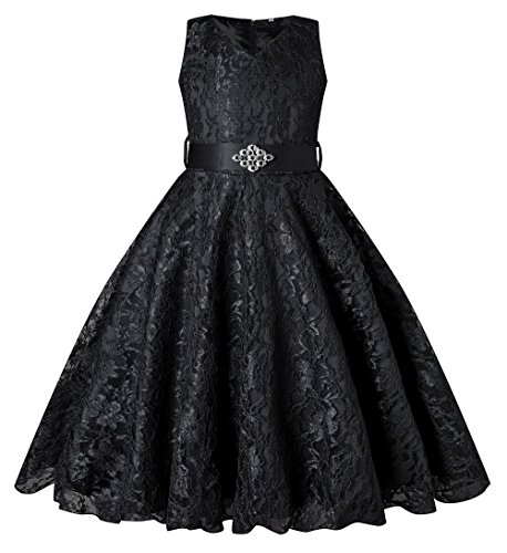 SHOWADAY Girl's Princess Sleeveless Tulle Lace Glitter Vintage Pageant Prom Dresses Black 10T ()