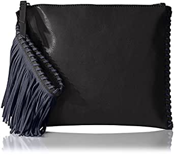 The Fix Quinn Suede Fringe Wristlet Clutch, Black/Navy